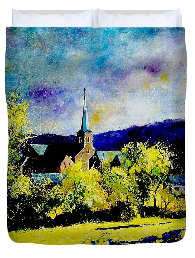 Poppies Duvet Cover featuring the painting Hour Village Belgium by Pol Ledent