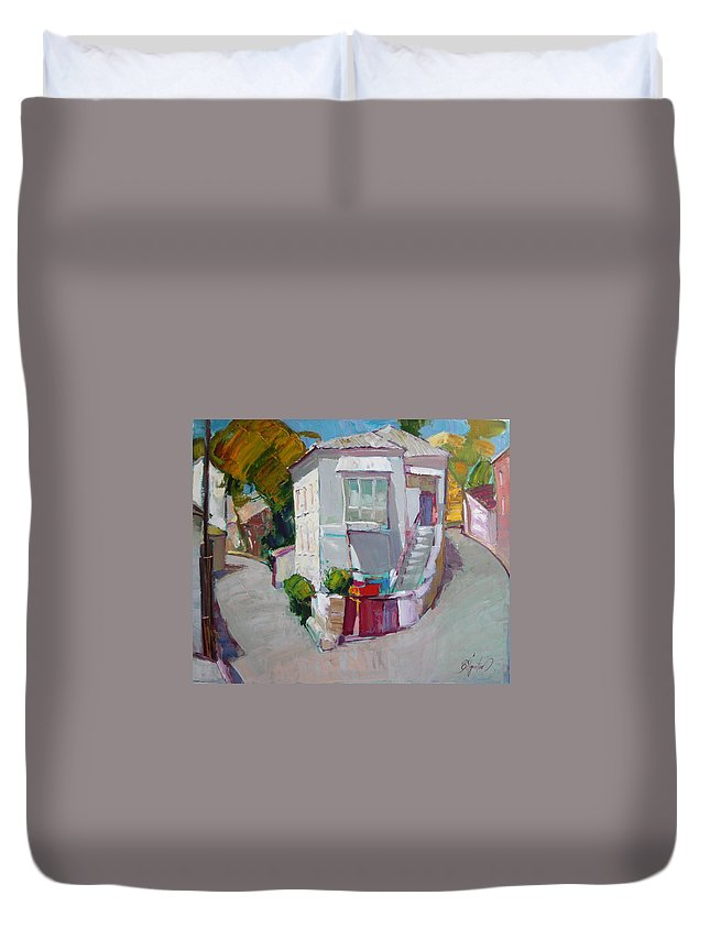 Ignatenko Duvet Cover featuring the painting Hous In Crimea by Sergey Ignatenko