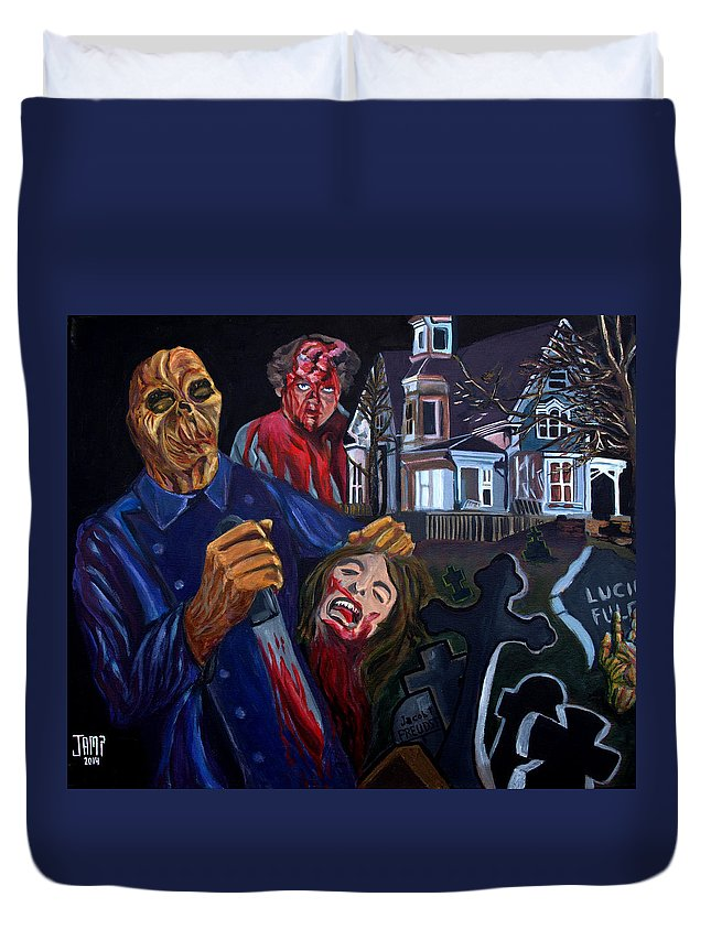 Dr.freudstein Duvet Cover featuring the painting House By The Cemetery by Jose Mendez