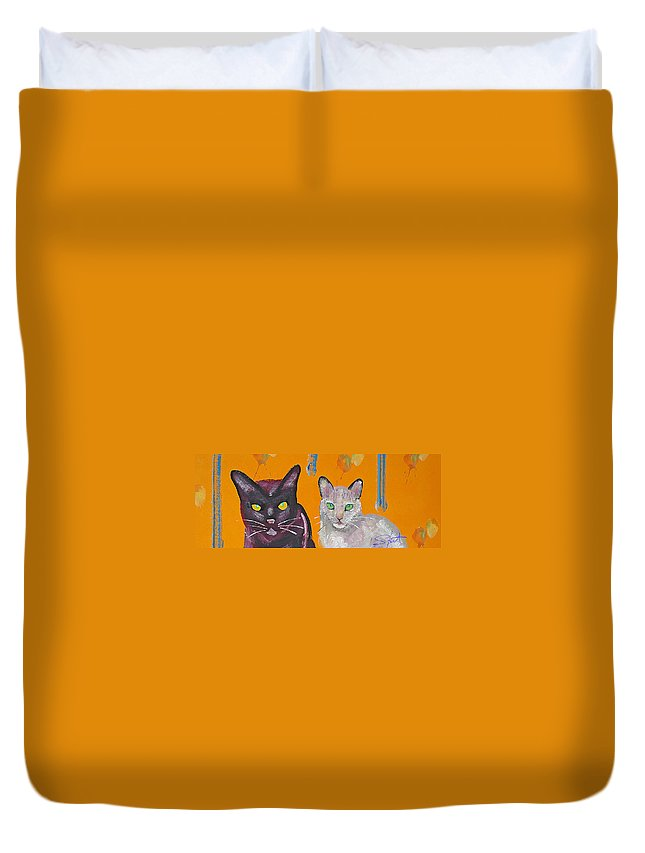 Cat Duvet Cover featuring the painting House Cats by Charles Stuart