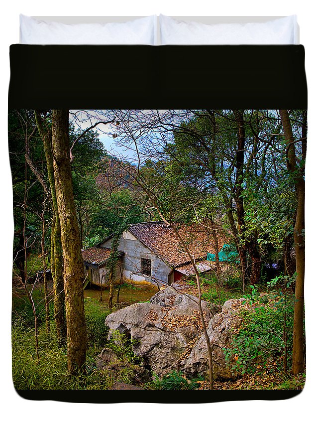 Landscape Duvet Cover featuring the photograph House In China Woods by James O Thompson