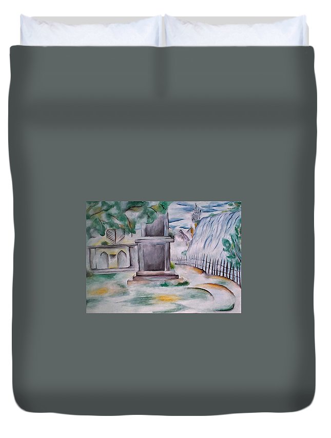 House Duvet Cover featuring the painting House In The Fog by Amit Sanger