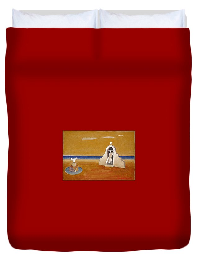 Chirico Duvet Cover featuring the painting House Of Eros by Dimitris Milionis
