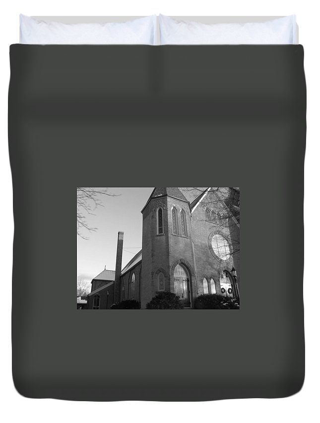 House Duvet Cover featuring the photograph House Of God by Rhonda Barrett