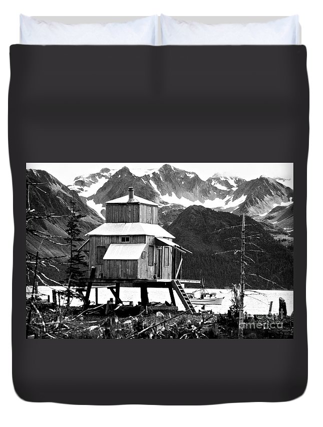 Alaska Duvet Cover featuring the photograph House Of Stilts Bw by James BO Insogna