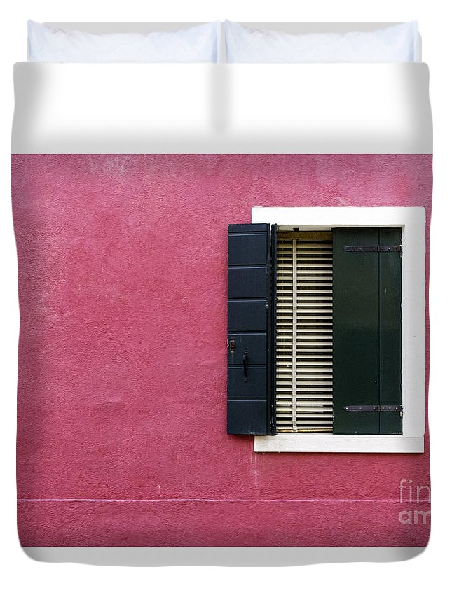 Italy Duvet Cover featuring the photograph House Of Venice - Magenta by Sophia Pagan