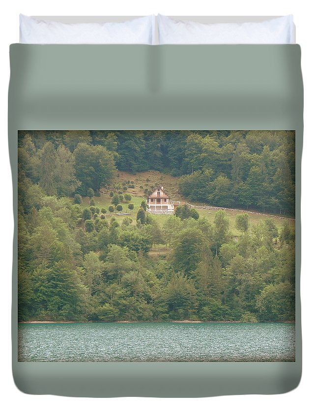 House Duvet Cover featuring the photograph House On A Hill by Lynn Griffin
