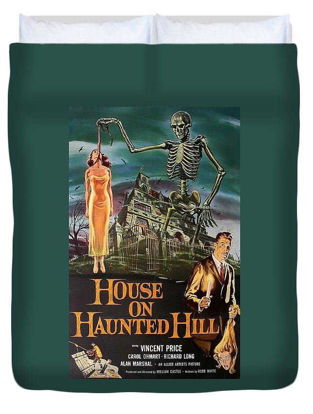 Movie Duvet Cover featuring the mixed media House On Haunted Hill 1958 by Mountain Dreams