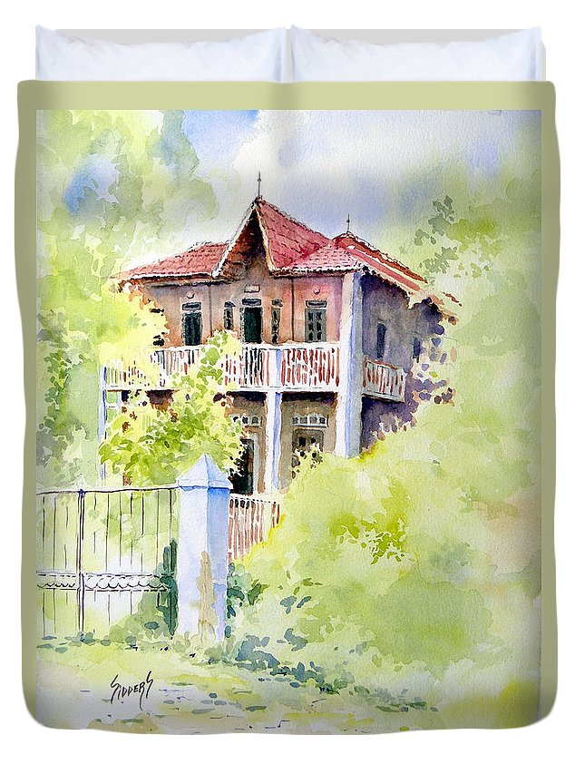 House Duvet Cover featuring the painting House On Jones Street by Sam Sidders