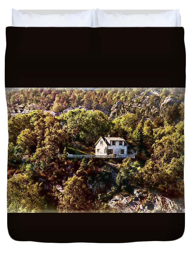 Norway Duvet Cover featuring the photograph House On The Side Of The Mountain by Bill Howard