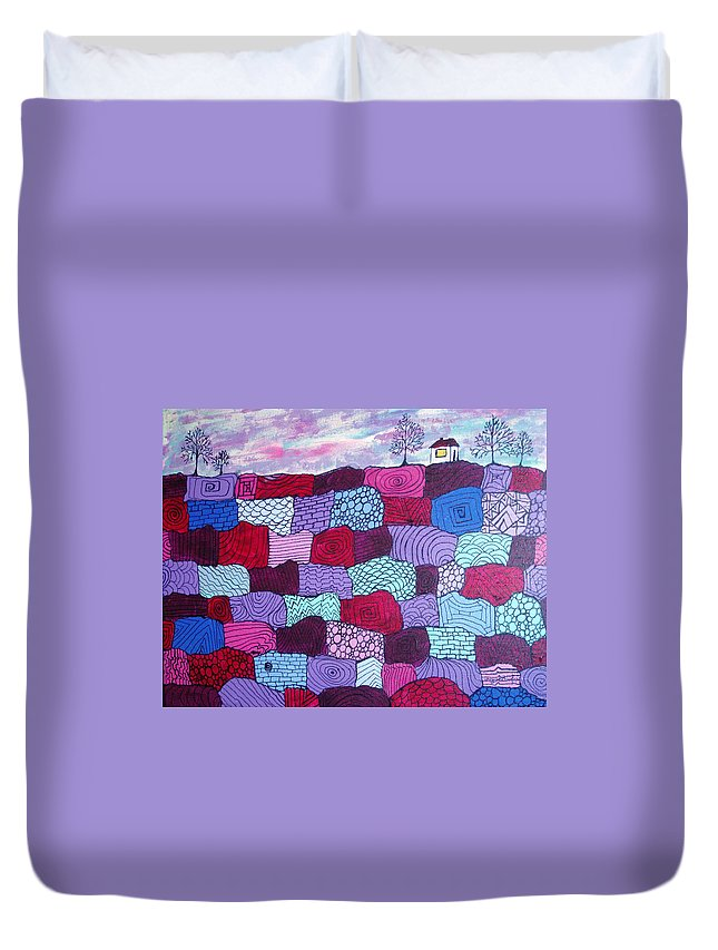 Folk Art Duvet Cover featuring the painting House On Top Of Patchwork Hill by Wayne Potrafka