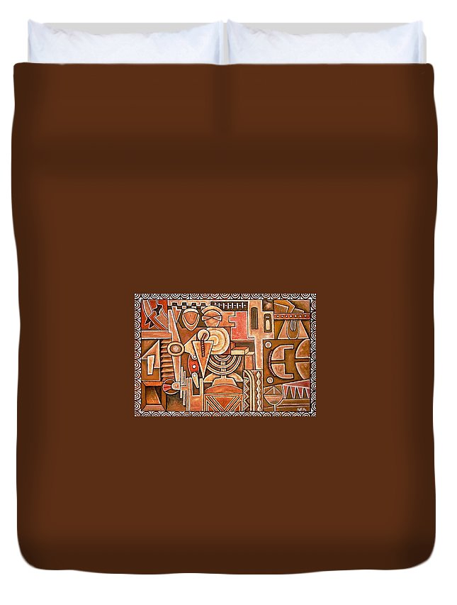 Abstract Duvet Cover featuring the painting Household by Koffi Mbairamadji