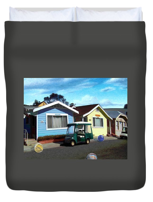 Houses Duvet Cover featuring the digital art Houses In A Row by Snake Jagger