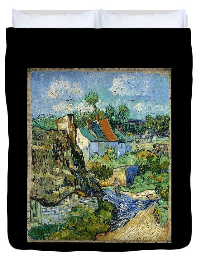 Vincent Van Gogh Duvet Cover featuring the painting Houses In Auvers by Van Gogh