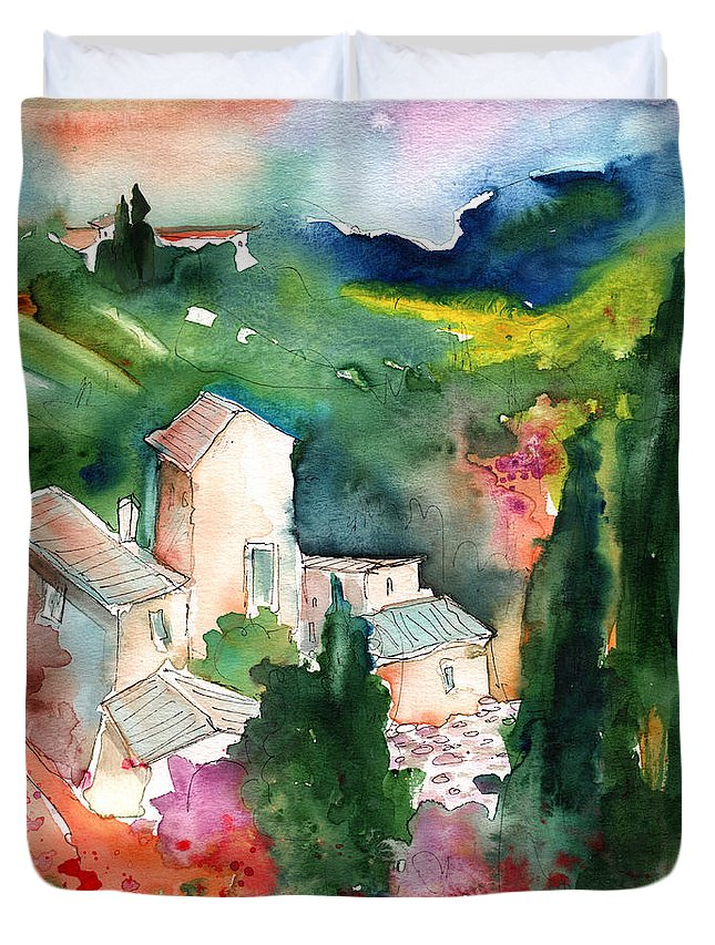 Landscapes Duvet Cover featuring the painting Houses In Montepulciano In Tuscany 01 by Miki De Goodaboom