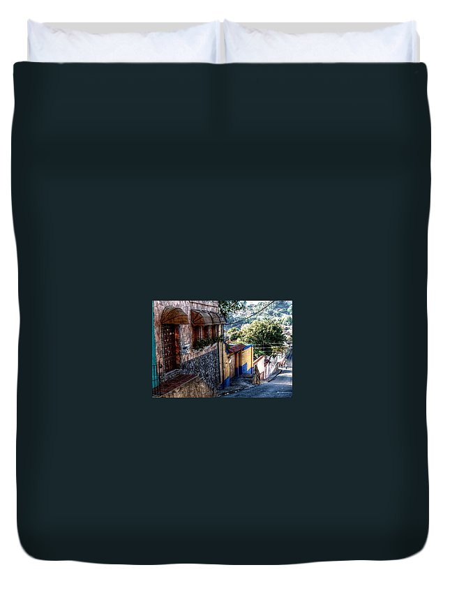 Hatillo Hause \digital Paint\ Yellow Blue Brown Duvet Cover featuring the photograph Houses Of Hatillo by Galeria Trompiz