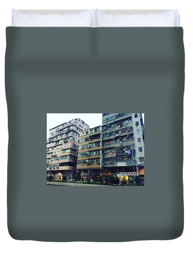 Hongkong Duvet Cover featuring the photograph Houses of Kowloon by Florian Wentsch