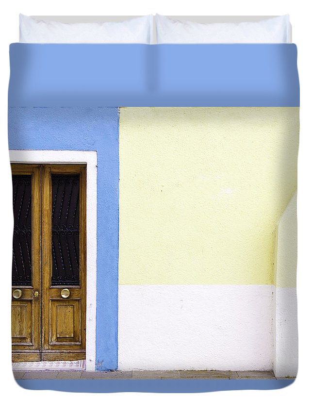 Blue Duvet Cover featuring the photograph Houses Of Venice - Blue/yellow by Sophia Pagan