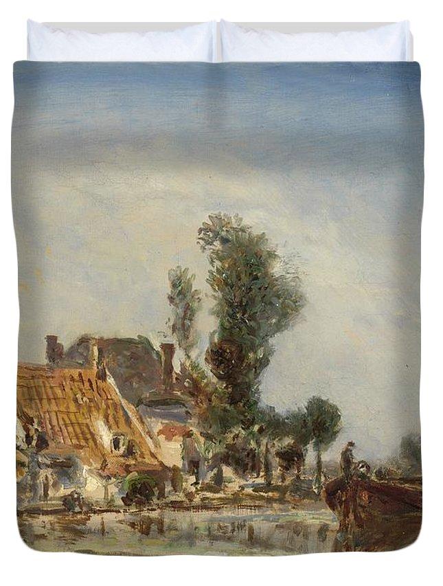 Houses On A Waterway Near Crooswijk Duvet Cover featuring the painting Houses On A Waterway Near Crooswijk by Johan Barthold Jongkind