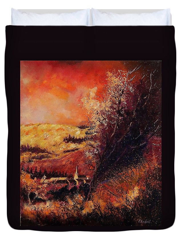 Tree Duvet Cover featuring the painting Houyet In Fall by Pol Ledent