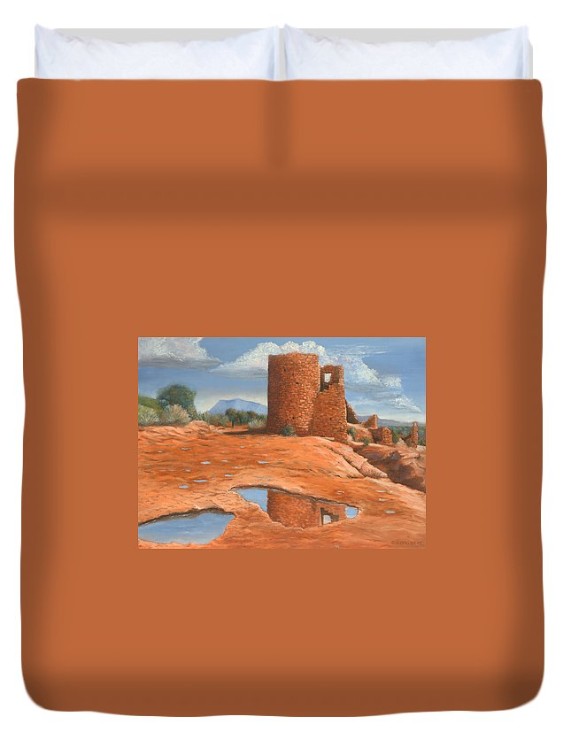 Anasazi Duvet Cover featuring the painting Hovenweep Reflection by Jerry McElroy