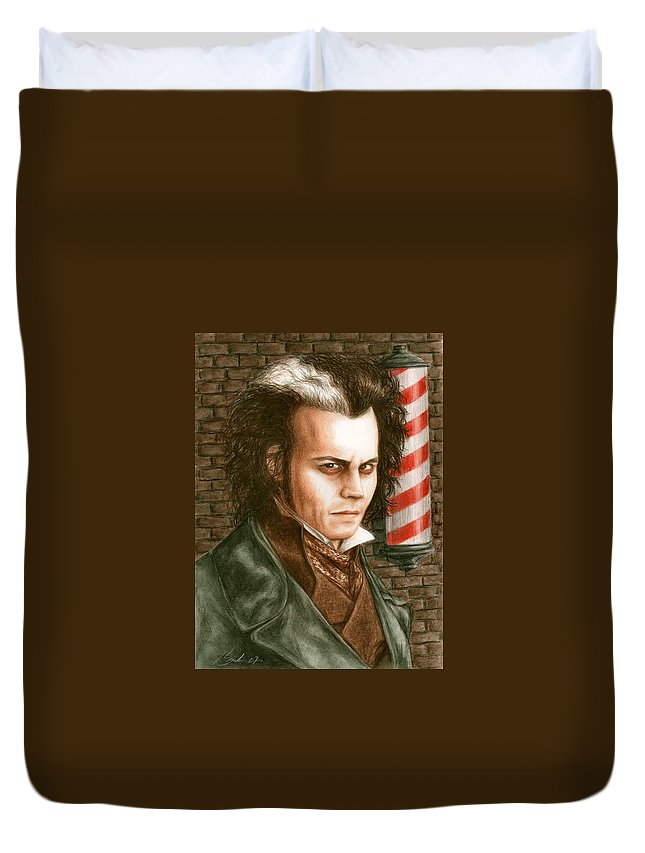 Sweney Todd Johnny Depp Bruce Lennon Art Duvet Cover featuring the painting How About A Shave by Bruce Lennon