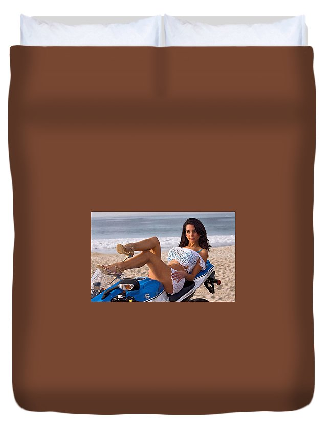 Girl Duvet Cover featuring the photograph How About Those Legs? by Lawrence Christopher