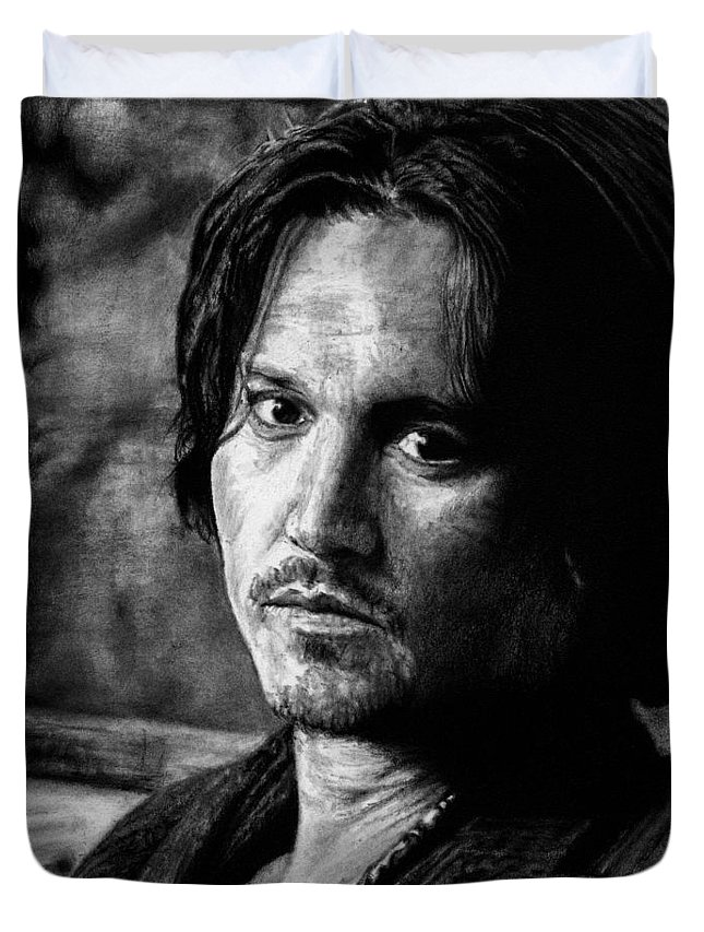 Johnny Depp Man Pirate Actor Hollywood Bullshit Public Blow Sexy Beautiful Hot Chocolate Portrait Feeling Duvet Cover featuring the drawing How Does It Feel by Priscilla Vogelbacher