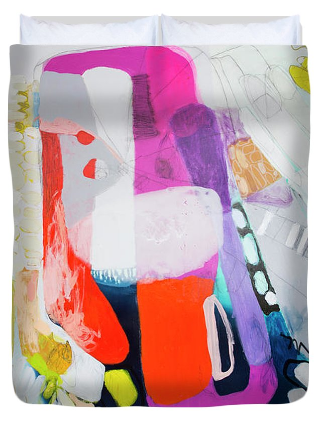 Abstract Duvet Cover featuring the painting How Many Fingers? by Claire Desjardins