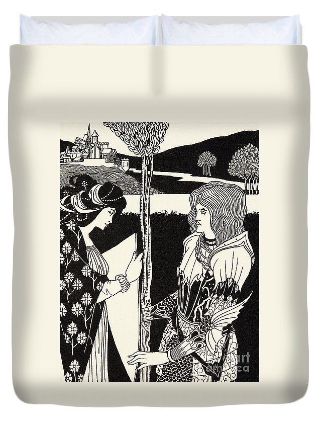 King Arthur Duvet Cover featuring the drawing How Morgan Le Fay Gave A Shield To Sir Tristran by Aubrey Beardsley