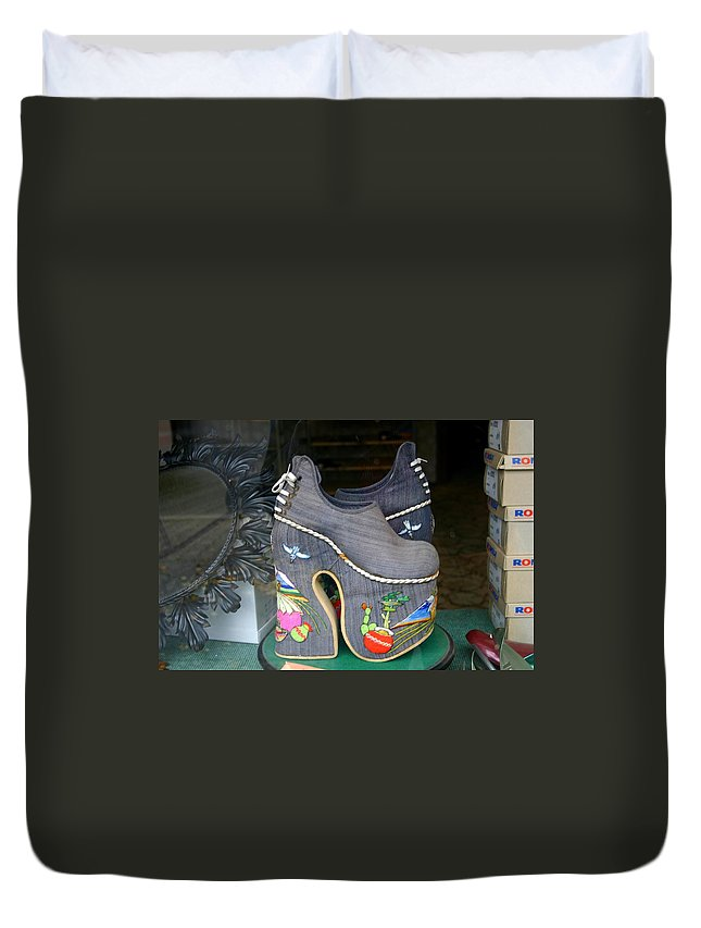 Shoes Duvet Cover featuring the photograph How Much Are Those Shoes In The Window by Minaz Jantz