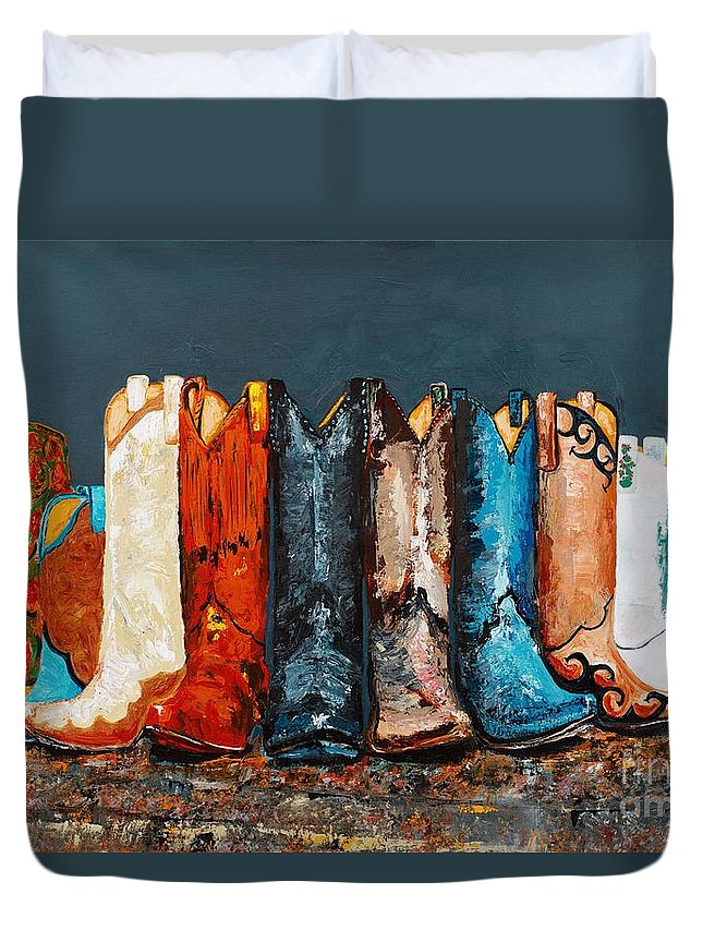 Cowboy Boots Duvet Cover featuring the painting How The West Was Really Won by Frances Marino