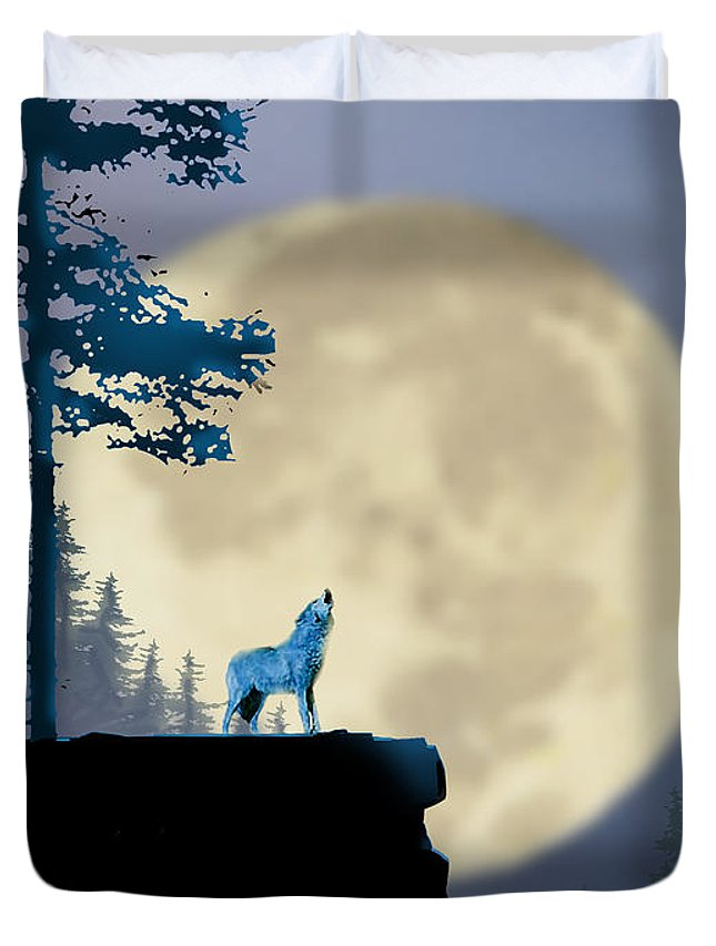 Animal Duvet Cover featuring the painting Howling Coyote by Paul Sachtleben