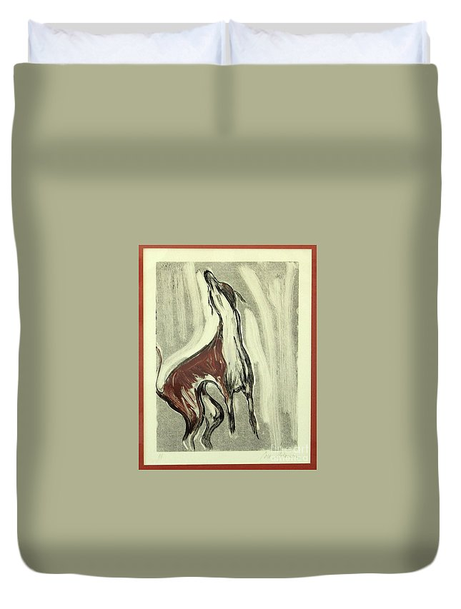 Monotype Duvet Cover featuring the mixed media Howling For Joy by Cori Solomon
