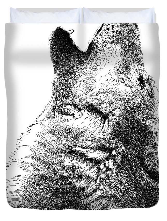 Howling Timber Wolf Duvet Cover featuring the drawing Howling Timber Wolf by Scott Woyak