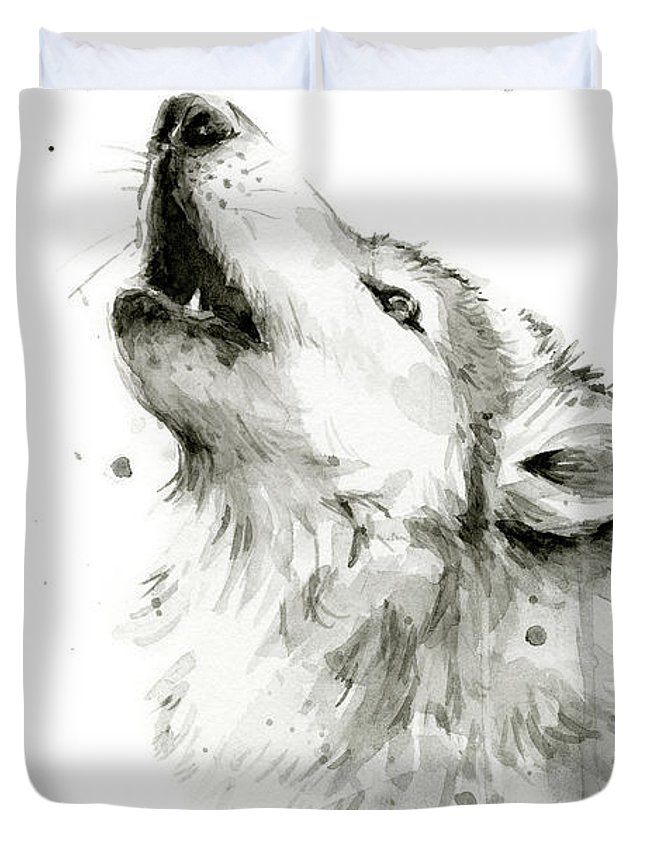 Watercolor Duvet Cover featuring the painting Howling Wolf Watercolor by Olga Shvartsur