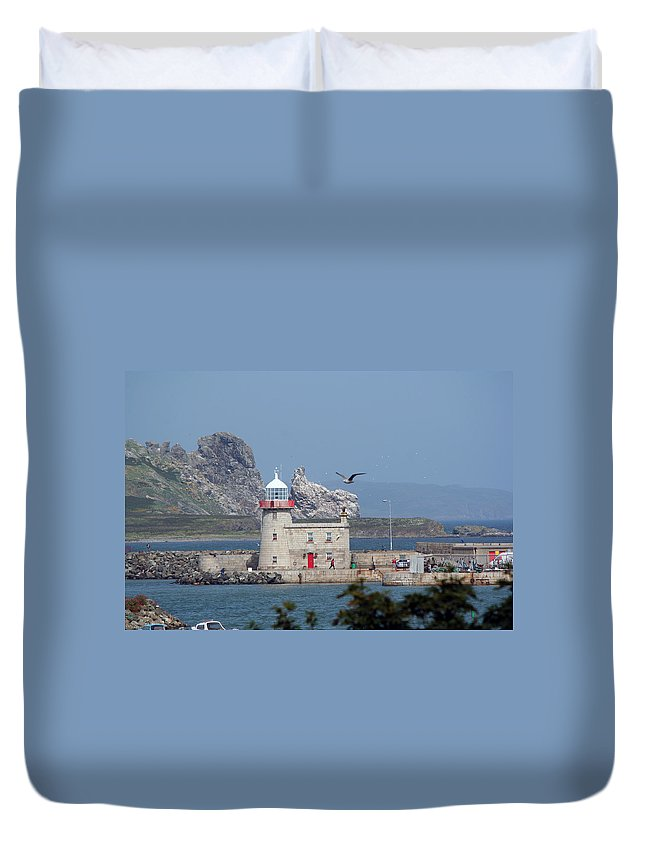 Howth Lighthouse Duvet Cover featuring the photograph Howth Lighthouse 0005 by Carol Ann Thomas