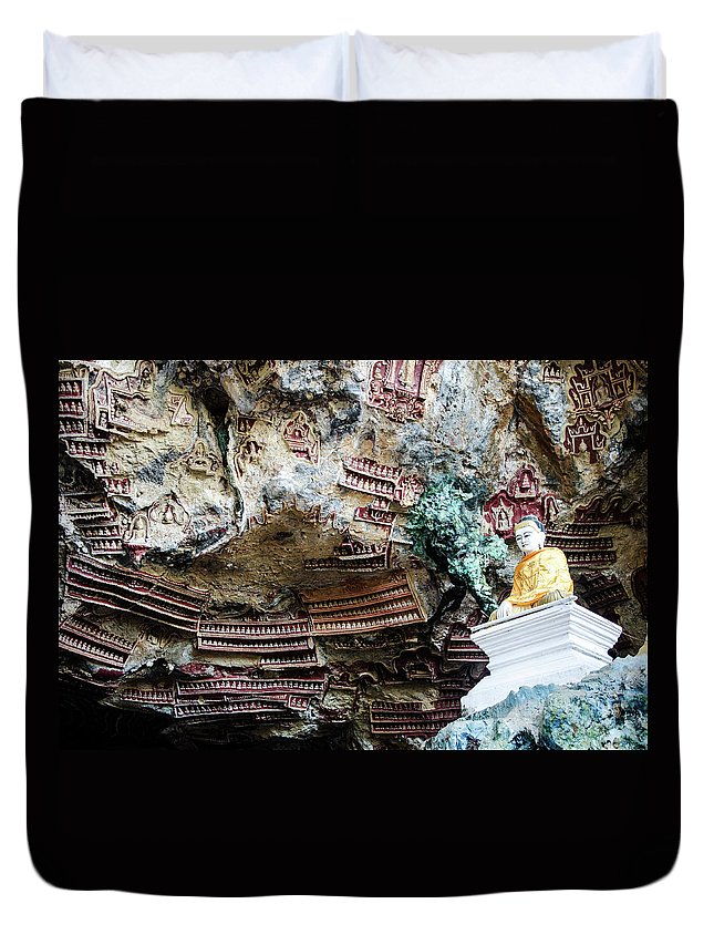 Burma Duvet Cover featuring the photograph Hpa-an Caves by Richard Parsons