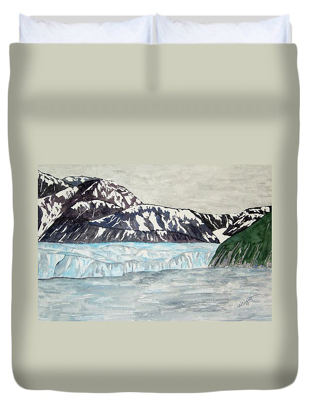 Glacier Duvet Cover featuring the painting Hubbard Glacier In July by Larry Wright