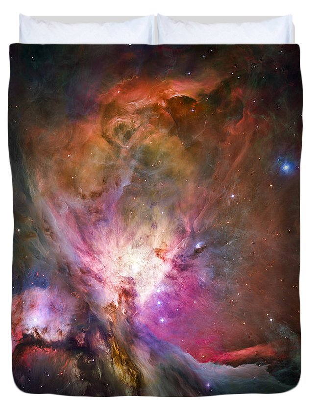 3scape Duvet Cover featuring the photograph Hubble's sharpest view of the Orion Nebula by Adam Romanowicz