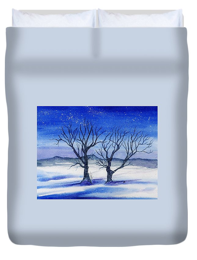 Watercolor Duvet Cover featuring the painting Huddled On A Snowy Field. by Brenda Owen