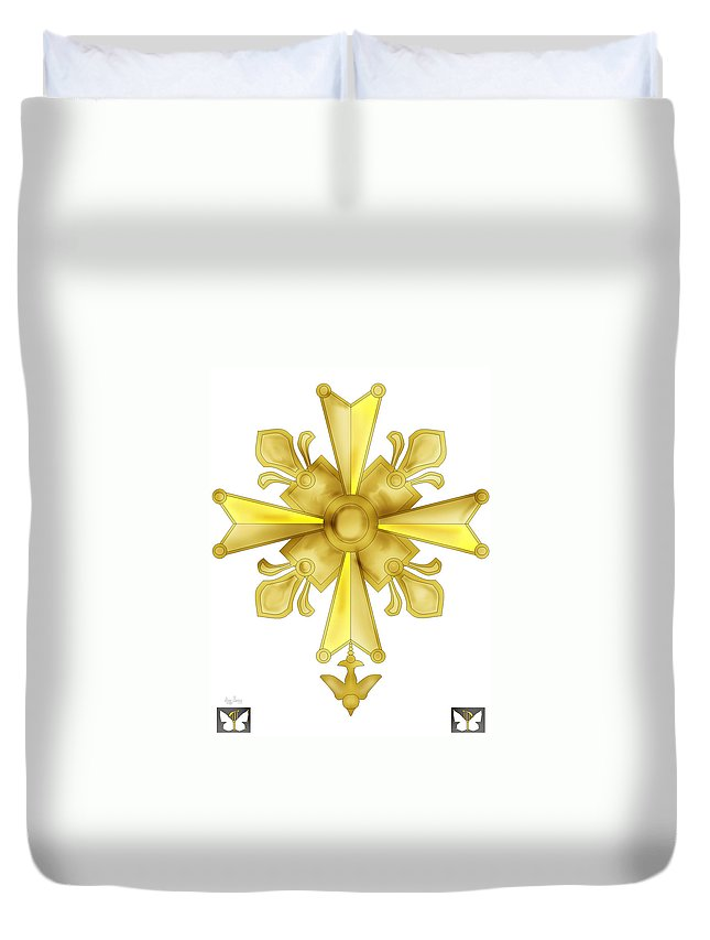 Christian Cross Duvet Cover featuring the painting Huguenot Golden Cross by Anne Norskog