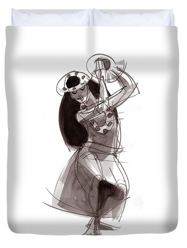 Hula Duvet Cover featuring the painting Hula Dancer Alika by Judith Kunzle