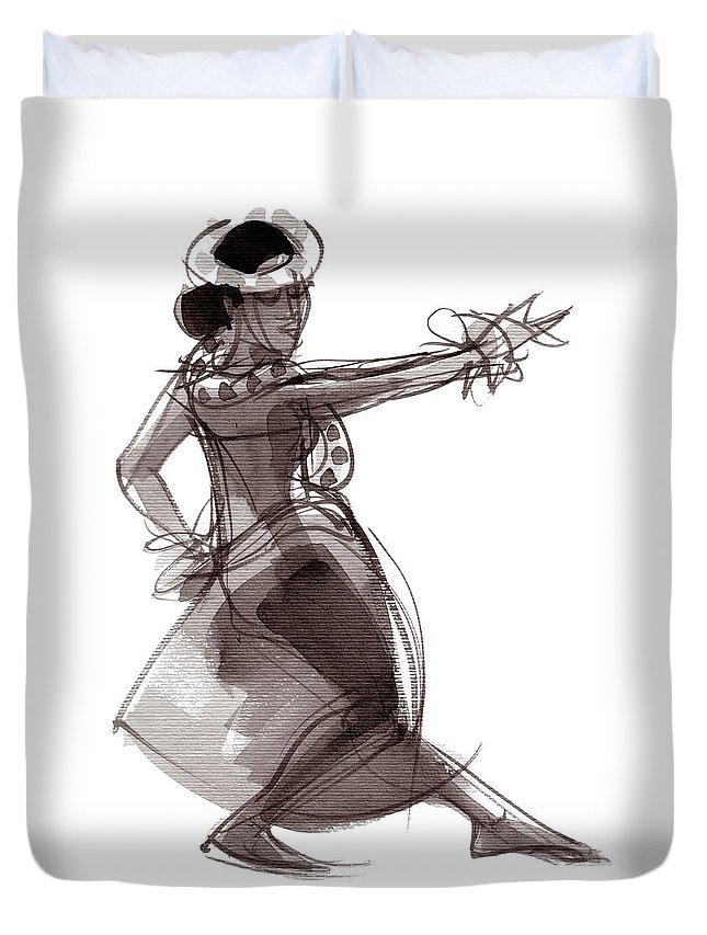 Hula Duvet Cover featuring the painting Hula Dancer Keala by Judith Kunzle