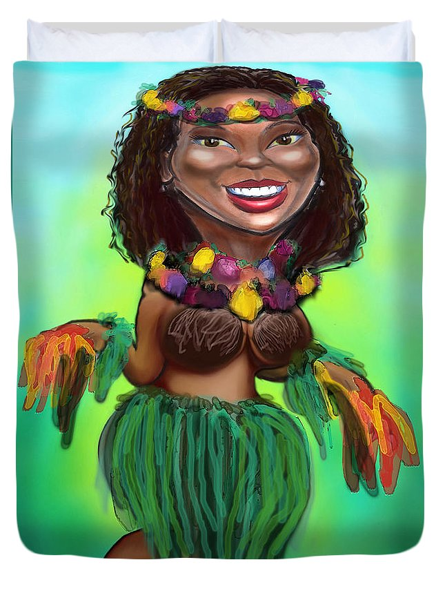 Luau Duvet Cover featuring the digital art Hula Dancer by Kevin Middleton
