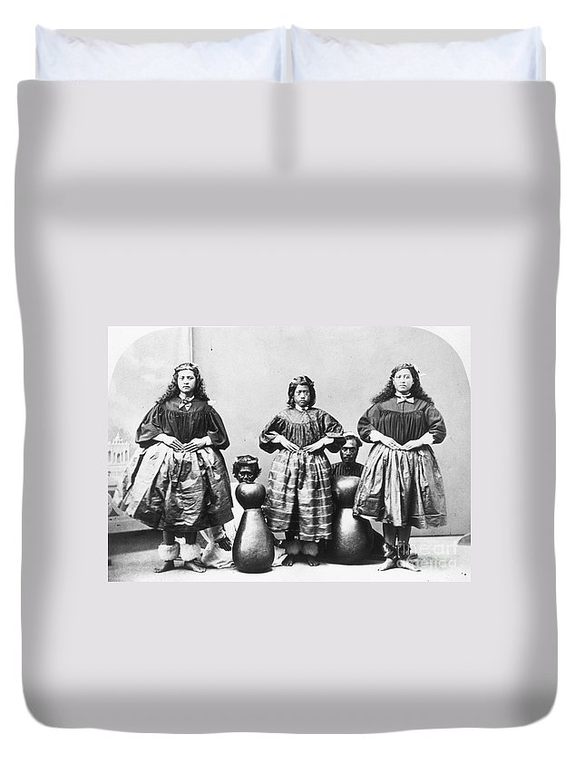 1875 Duvet Cover featuring the photograph Hula Dancers, C1875 by Granger