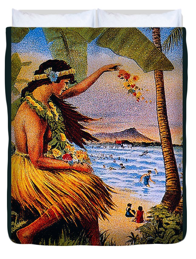1915 Duvet Cover featuring the painting Hula Flower Girl 1915 by Hawaiian Legacy Archive - Printscapes