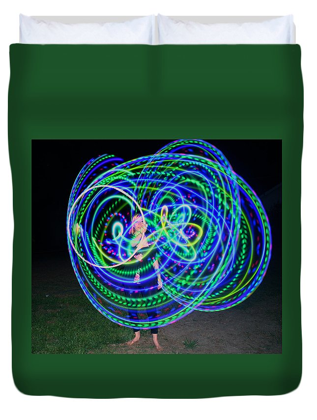 Hula Hoop Duvet Cover featuring the photograph Hula Hoop In Light by Deborah Napelitano