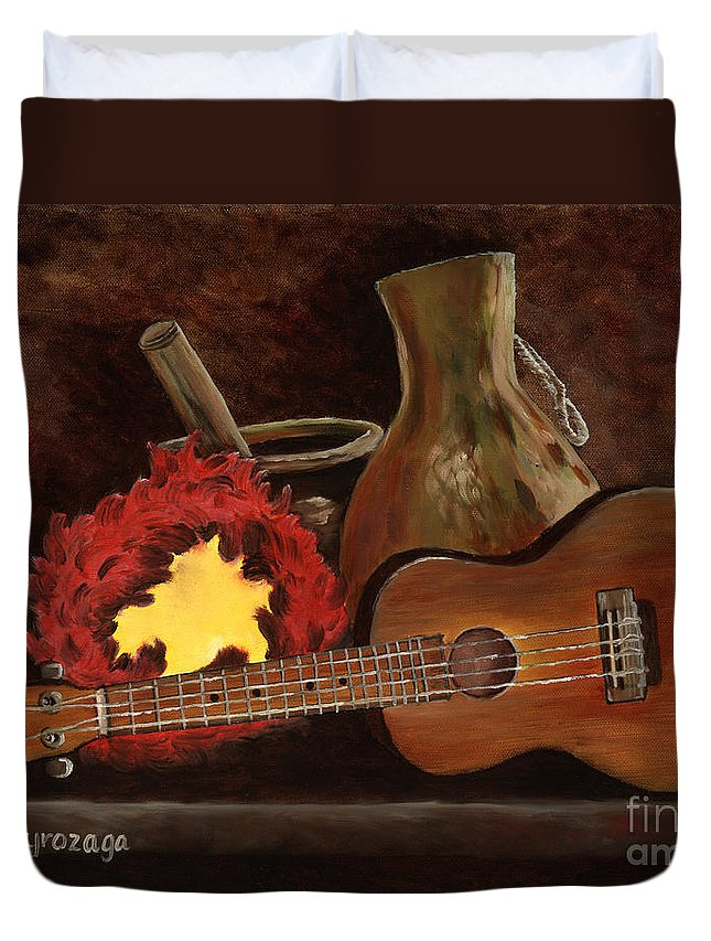 Ukelele Duvet Cover featuring the painting Hula Implements by Larry Geyrozaga