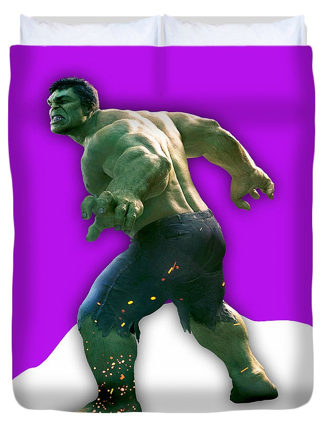 Avengers Duvet Cover featuring the mixed media Hulk Collection by Marvin Blaine
